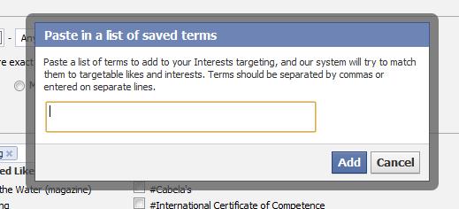 Facebook Interest Targeting Paste in a List