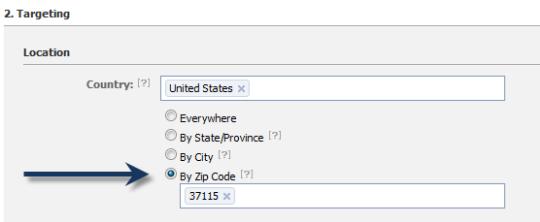 Facebook Advertising Zip code Targeting